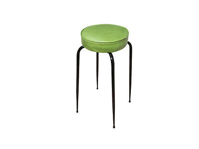 A steel framed stool with green leather top, c1950s. Kandya Program era