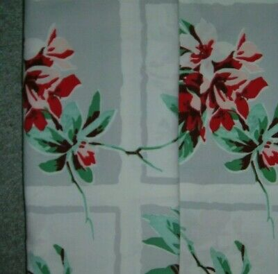 Vintage Tablecloth Wilendur Red Rhododendron