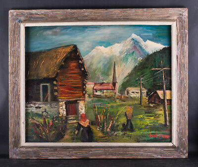 "Beautiful Early 20th Century Post-Impressionist Oil Painting ""Village Scene"""