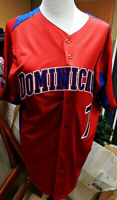Jose Reyes Blue Jays Dominicana DR Jersey Red WBC 2013 Majestic Adult L #7 NWOT