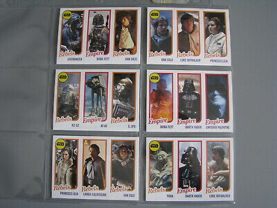 2016 Topps Throwback Thursday Star Wars Trading Card Set 6 Cards
