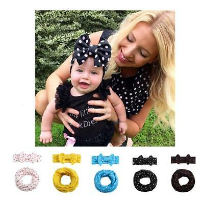 Hot Sale Cute Baby Kids Dot Scarf Headband Two-Piece Suit Multi-color Fashion C