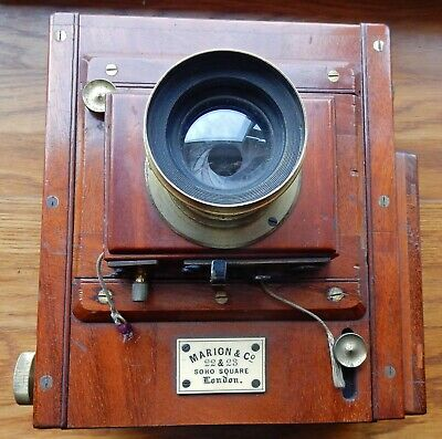 Early Scarce Marion & Co Mahogany & Brass Plate Camera + Un-Named Brass Lens