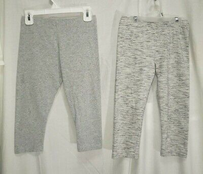 2 Pairs Girls Size Medium 7/8 Cropped Leggings Heather Gray Flawed Used