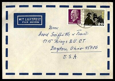 Mayfairstamps GERMANY 1960s DDR AIR MAIL TO DAYTON OH USA COVER wwd21291