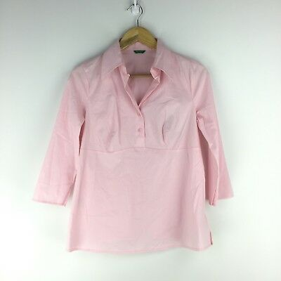 NWT Womens United Colors of Benetton Size M 3/4 Sleeve Button Shirt Pink Career