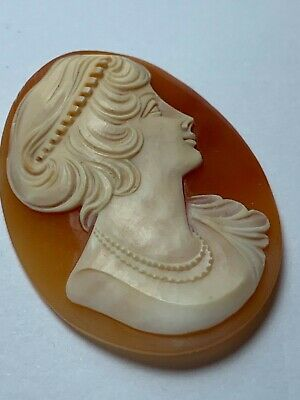 Carved Shell Cameo  Antique Italian Hand made G342
