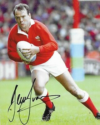"""GREAT HAND SIGNED 10"""" x 8"""" COLOUR PRINT - IEUAN EVANS - WALES RUGBY UNION LEGEND"""