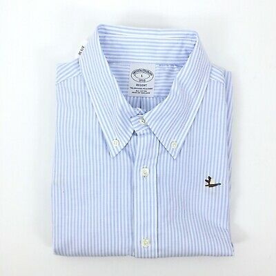 NWT Brooks Brothers Mens Size L Embroidered Striped Regent Oxford Sport Shirt
