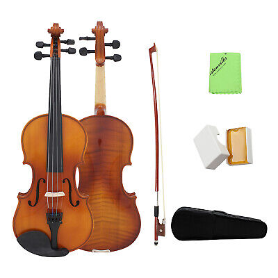 USA Full Size 4/4 Natural Solid Wood Spruce Maple Veneer Violin With Case N7O8