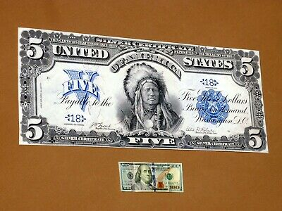 "Currency Bank Note Poster 10/"" x 24/"" 1899 US $5.00 Dollar Silver Certificate"