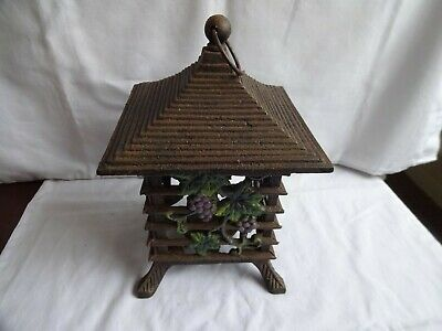 VINTAGE ORIENTAL CAST IRON PAGODA INCENSE SENSOR BURNER HEIGHT 24 cm 2.5 Kilos.
