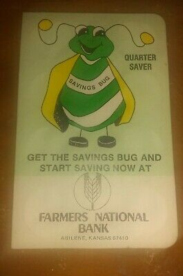 "Vintage ""Saving Bug""  1979 savings book from Farmers National Bank Abilene KS"