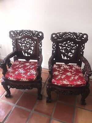 Pair Antique Chinese Hand Carved Ebonzed Wood Arm Chairs, Thrones Silk Cushions
