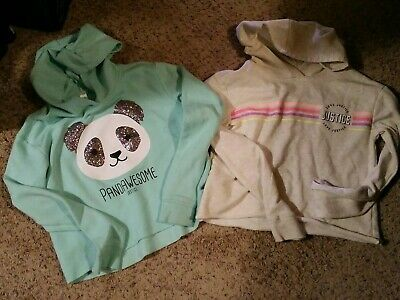 Two JUSTICE Active Girls Hoodies Size 12 panda love justice