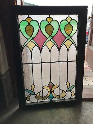 Sg 3205 Antique Stained Glass Landing Window 24.5 x 35.5 H