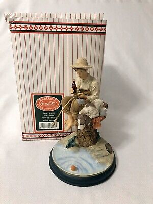 Coca Cola Boy Fishing Norman Rockwell Heritage Collection Figurine Dog 1995