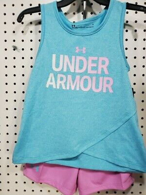 Girls Kids Youth UNDER ARMOUR Tank Top Shorts Set Blue Size 6