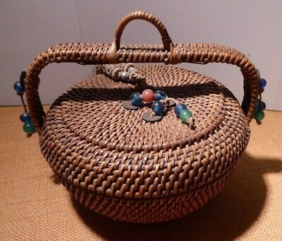 Exquisite Antique Chinese Sewing Bamboo Basket w Handle, 15 Beads Coins Tassle