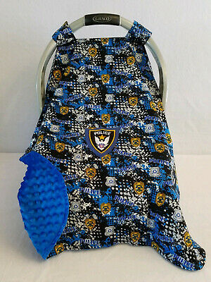 Car Seat Canopy Police Blue Cotton Baby & Patch Blue Minky Embroidery Cozy