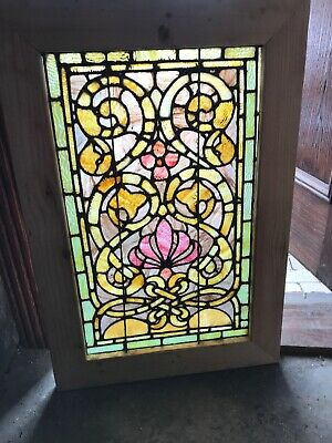 Sg 3209 Antique Stained Glass Landing Window 24.25 X 35.75