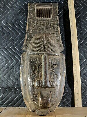 Very Large Old Mask of Unknown Origin — Authentic Handcarved Wood African Art