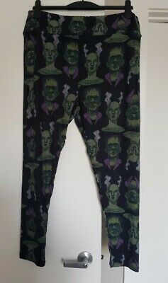 New Lularoe Halloween Leggings Frankenstein Bride Black Size Tc2