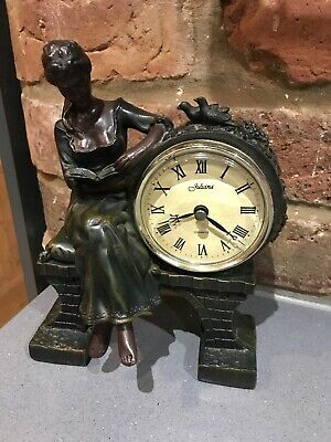 Juliana Mantel Clock Lady Reading On Bench With Birds Bronze Effect Vgc Working