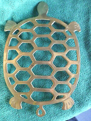 Antique Brass TURTLE TRIVET Made In Taiwan Good Condition For Age 1930's - 40's