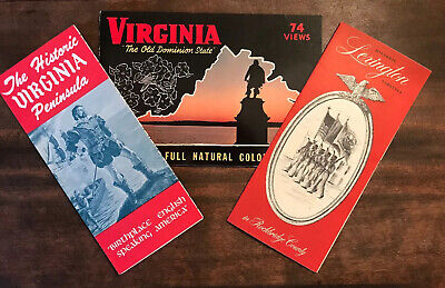 Three 1960s vintage Virginia Travel Brochures VA History Historic