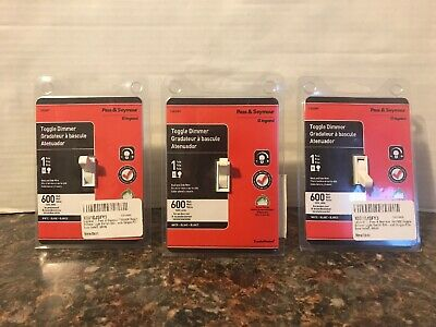 3 Pack of Pass & Seymour Toggle Dimmer T600WV 600W 1 Pole WHITE Incandescent
