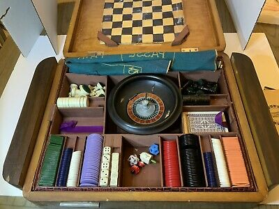 Antique Burl Wood And 800 Silver Art Deco Gaming Box Made In Italy WW2 Roulette
