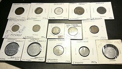 Mixed Lot Of 15 German Empire Coins . Pfennig , Mark And More