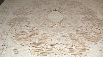 Tablecloth creme color oblong  Crocheted lacey design