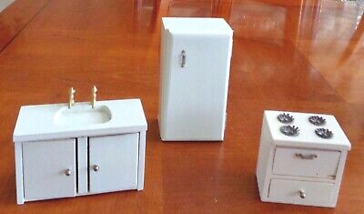 Vintage Miniature Doll House Wood Kitchen Furniture