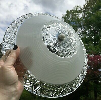"""Antique frosted glass 12"""" shade Art Deco flush mount ceiling light fixture"""
