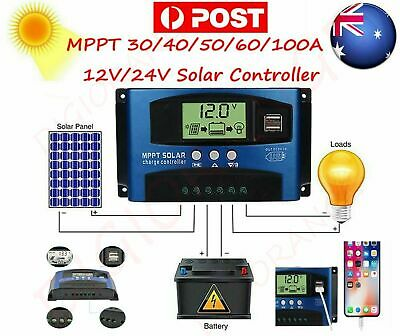 AU MPPT 30~100A 12/24V Solar Panel Regulator Charge Controller Auto LCD Dual USB