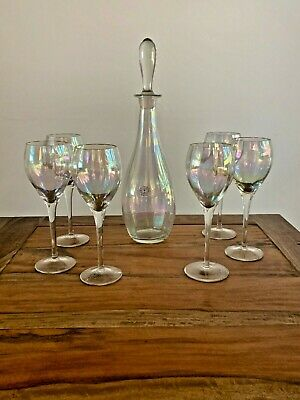 Hand Blown Iridescent Crystal Toscany Wine Set 6 Glasses and Decanter - Romania