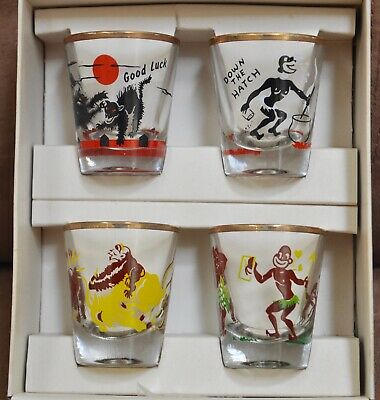 Four Vintage Federal Glass RUMPUS SHOT GLASSES SET Black Americana with Box