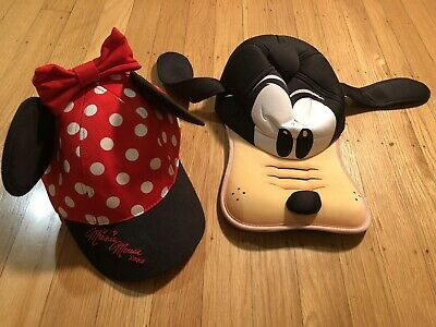 Disney Parks Lot of 2 Minnie Mouse Hat And Goofy Hat With Ears Disneyland Youth