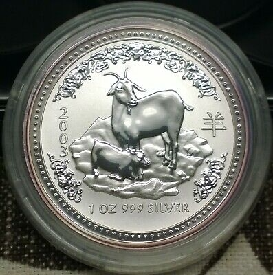 2003 Australian Lunar Series - Year of the Goat - 1 OZ 999 pure silver coin