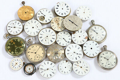 Bundle Job Lot Vintage/Antique Pocket Watch Spares, Faces Movements etc