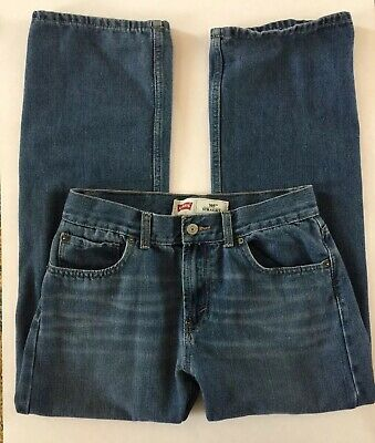 Levis 505 Blue Jeans Denim Regular Fit Mens/Boys 29x29 18 REG 5-Pocket Med Wash