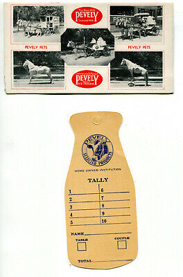 2 Vintage Pevely Milk Ice Cream Advertising Pieces: Ink Blotter, Tally Card