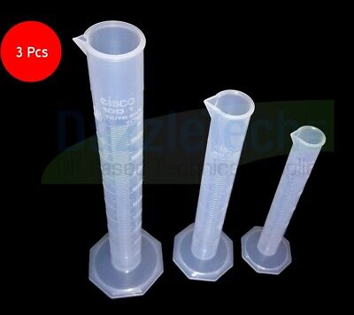 100ml + 50ml + 25ml Graduated Measuring Cylinder Kitchen Science Experiment 3pc