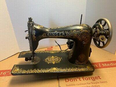 1921  SINGER SEWING  MACHINE MODEL 15  rare decal design