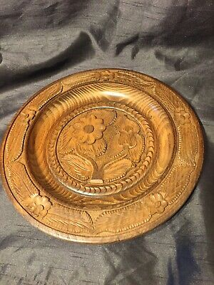 Old Wood Wooden Treen Carved Heavy Decorative Plate Bowl  Black Forest