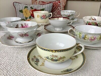 Mismatched China Tea Cups and Saucers ~ Lot of 8 ~ Tea Party ~ Florals