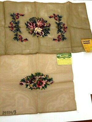 Bucilla 29339 Prismacolor 14888 Needlepoints Preworked Floral Tapestries Vintage