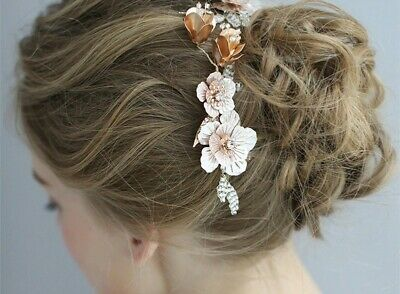 Bridal gold/champagne crystal hair comb